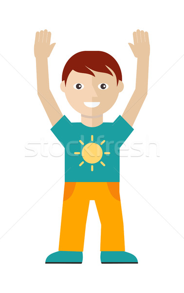 男性 文字 Tシャツ 太陽 黄色 ズボン ストックフォト © robuart