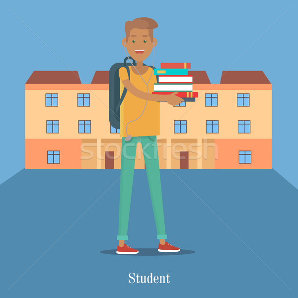 Diák áll könyv főiskolai hallgató főiskola épület Stock fotó © robuart