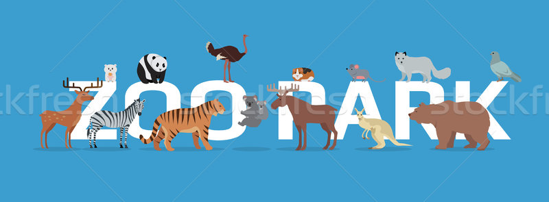 Zoo Park with Animals Banner Isolated. Stock photo © robuart