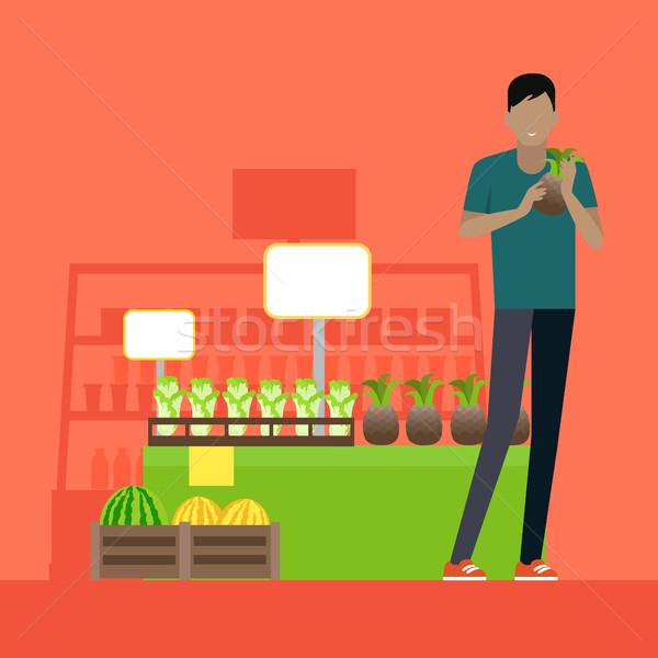 Client épicerie vecteur design homme Photo stock © robuart