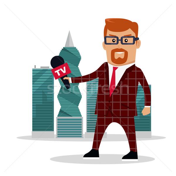 Documenten tv verslaggever microfoon wolkenkrabbers corruptie Stockfoto © robuart
