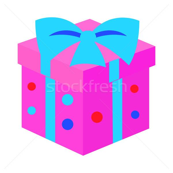 Caixa de presente rosa ano novo apresentar azul fita Foto stock © robuart