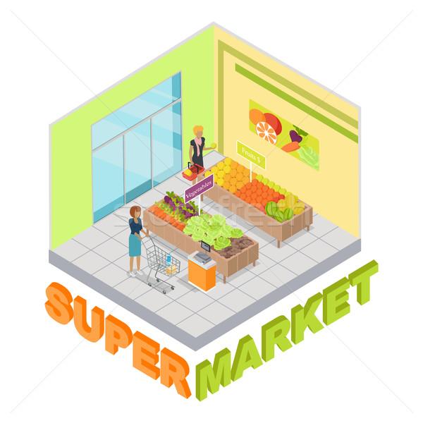 Foto d'archivio: Supermercato · frutti · verdura · dipartimento · shop