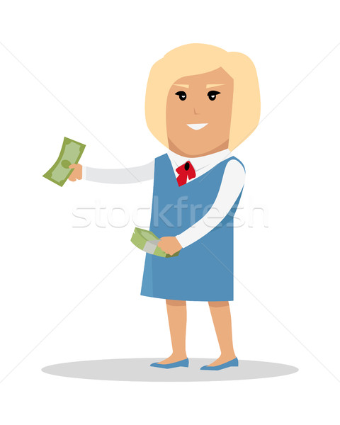 Woman Character With Money Vector Illustration Stock photo © robuart