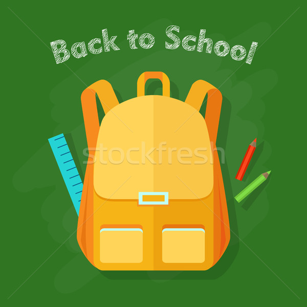 Back to School. Yellow Backpack. Office Supplies Stock photo © robuart