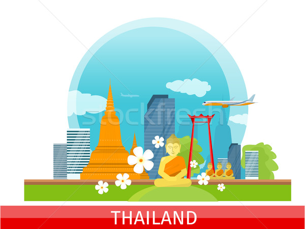 Thailand Travelling banner. Thai Landmarks. Stock photo © robuart