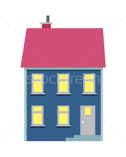 Isolated Cartoon House with Two Floors on White Stock photo © robuart