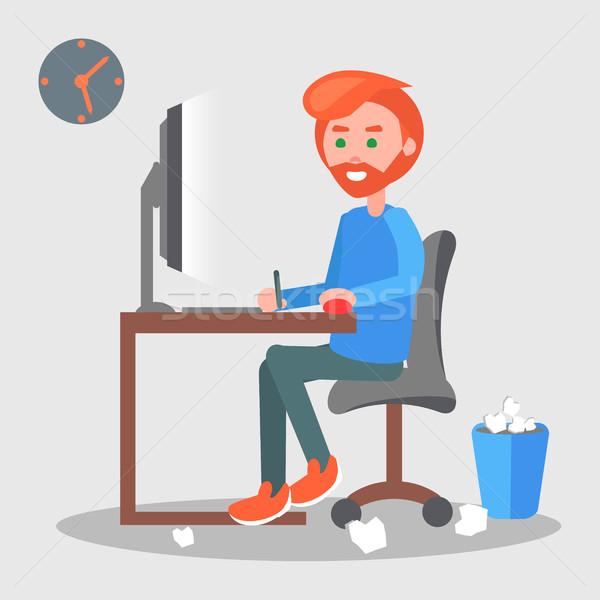 Freelancer werkplek vector moderne mannen cartoon Stockfoto © robuart