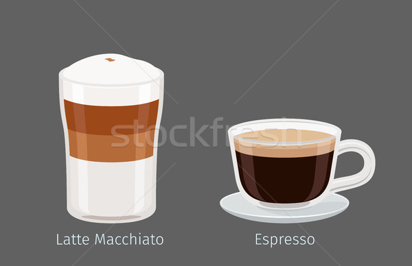 Latte Macchiato and Espresso Coffee Illustration Stock photo © robuart
