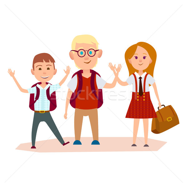 Happy Schoolchildren with Bags Waving their Hands Stock photo © robuart