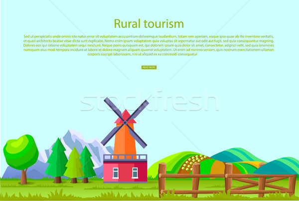 Rural Tourism Poster with Countryside Landscape Stock photo © robuart