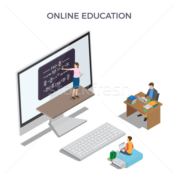 Online Education Promo Poster with Big Computer Stock photo © robuart