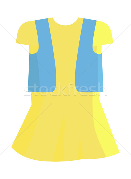 Yellow Summer Girly Dress with Blue Jeans Jacket Stock photo © robuart