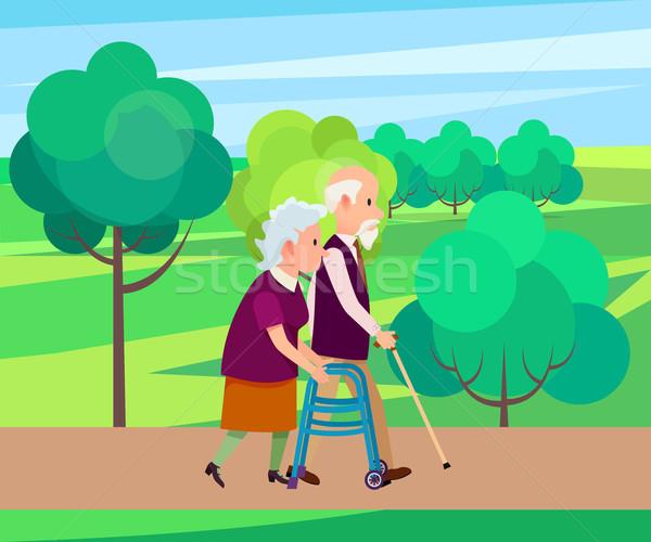 Nagyapa sétál bot idős nő nagypapa Stock fotó © robuart