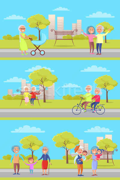 Set of Vector Posters with Grandparents and Kids Stock photo © robuart