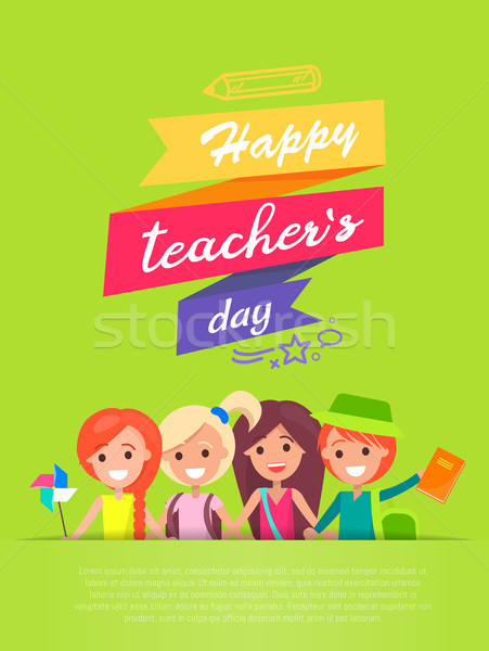 Happy Teachers Day and Ribbons Vector Illustration Stock photo © robuart