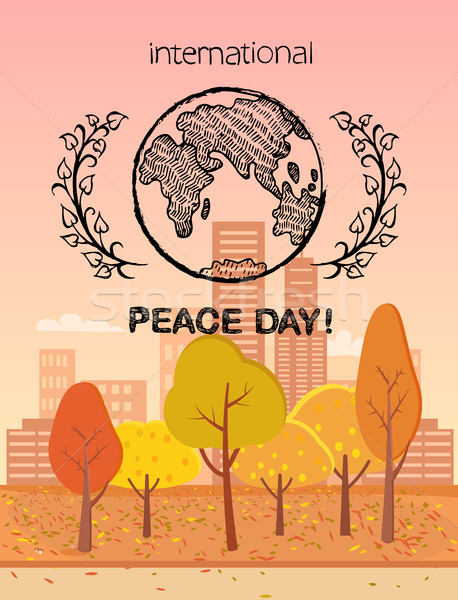 International Peace Day Colorful Logo with Earth Stock photo © robuart