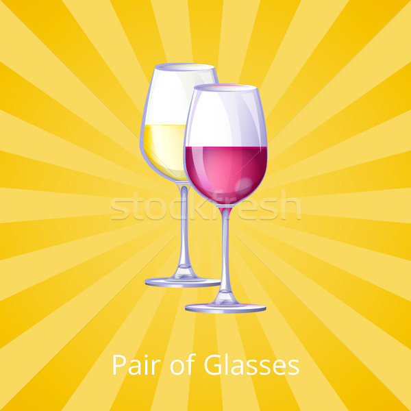 Coppia occhiali icone giallo bevande diverso Foto d'archivio © robuart