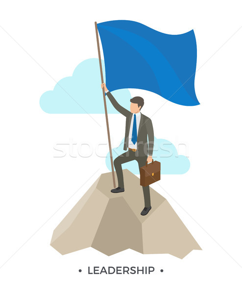 Leiderschap man vlag pak permanente Stockfoto © robuart