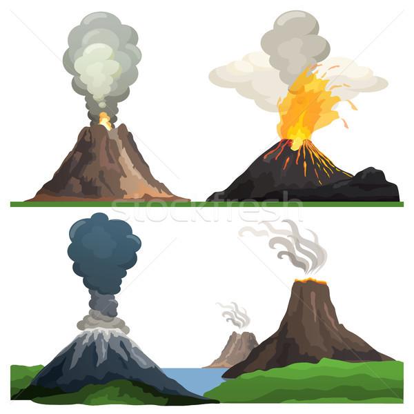 Vulkaan uitbarsting witte vlammen brandend lava Stockfoto © robuart