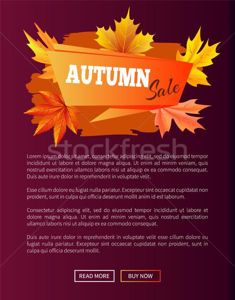 Autumn Sale Orange Label on Violet Backdrop, 2017 Stock photo © robuart