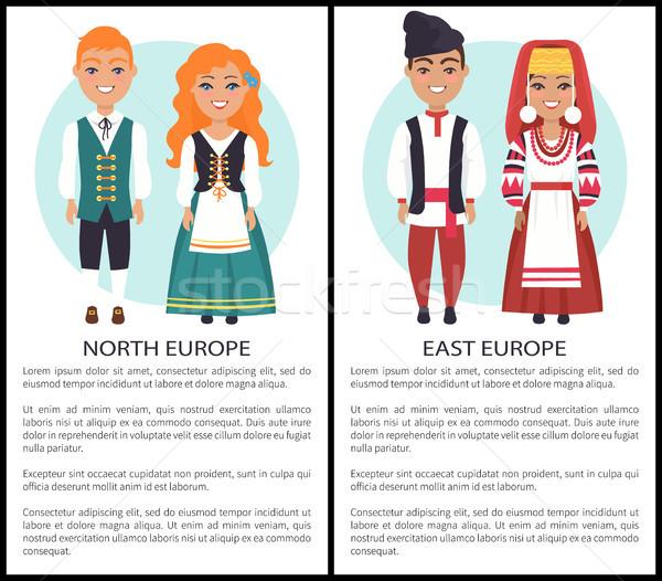 East North Europe Costumes European Nationalities Stock photo © robuart