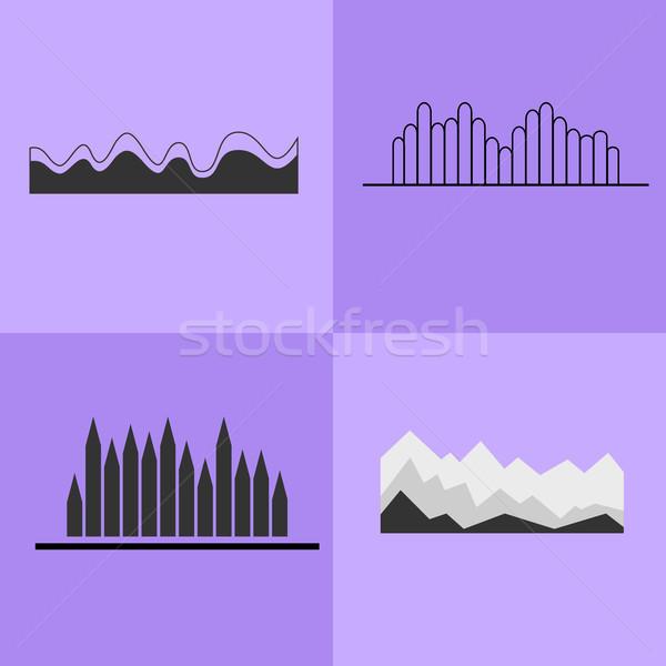 Line wykres falisty wykres zestaw cztery Zdjęcia stock © robuart