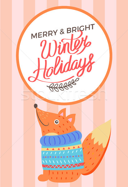 веселый Рождества ярко зима праздников Fox Сток-фото © robuart