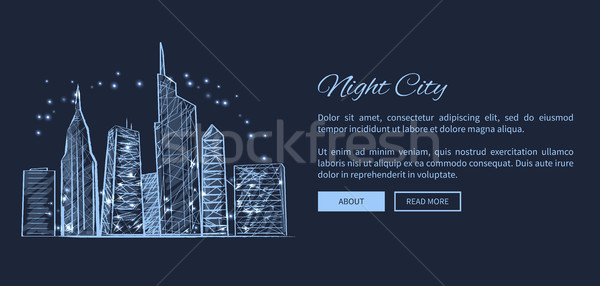 Night City Web Page and Text Vector Illustration Stock photo © robuart