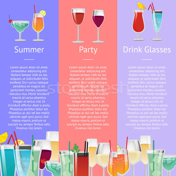 Summer Party Drink Glasses Alcoholic Beverages Stock photo © robuart