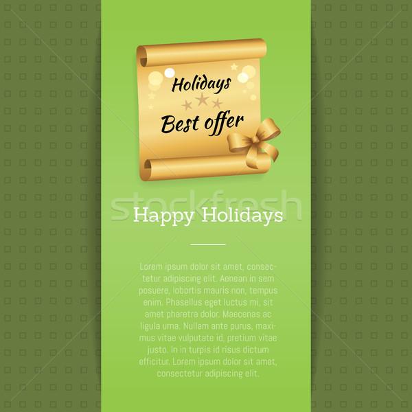 Boldog ünnepek legjobb ajánlat felirat arany Stock fotó © robuart
