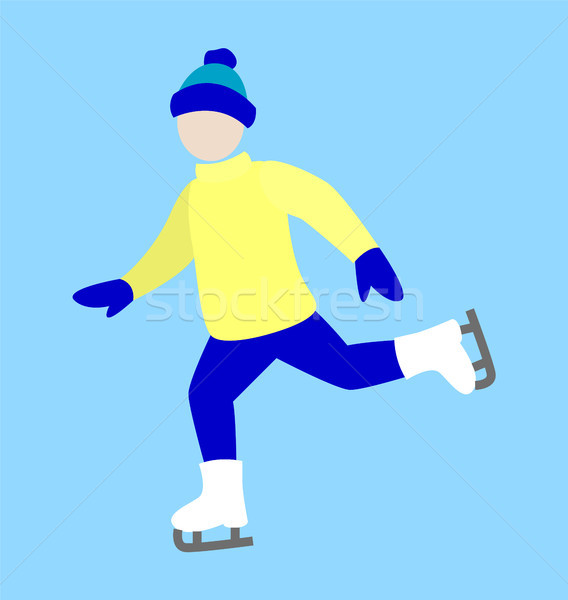 Ice-Skating Happy Man Icon Vector Illustration Stock photo © robuart