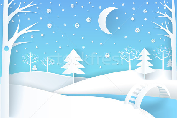 Winter Landscape with River and White Snowy Trees Stock photo © robuart