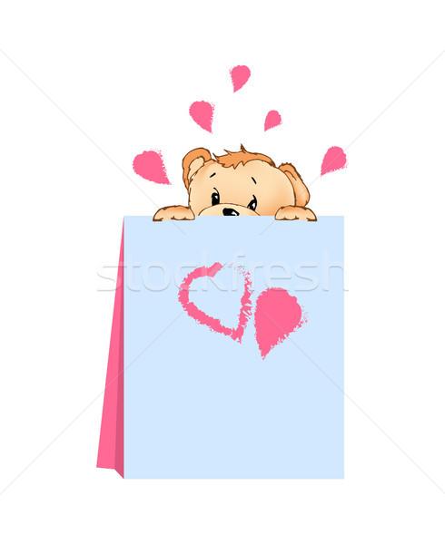 Plüssmaci rejtőzködik mögött kártya szívek rózsaszín Stock fotó © robuart