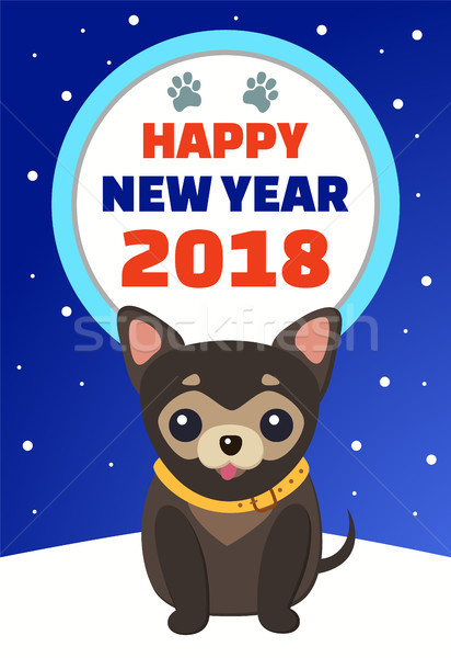 Happy New Year 2018 Placard Vector Illustration Stock photo © robuart