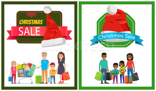 Two Christmas Sale Banner Vector Illustration Stock photo © robuart
