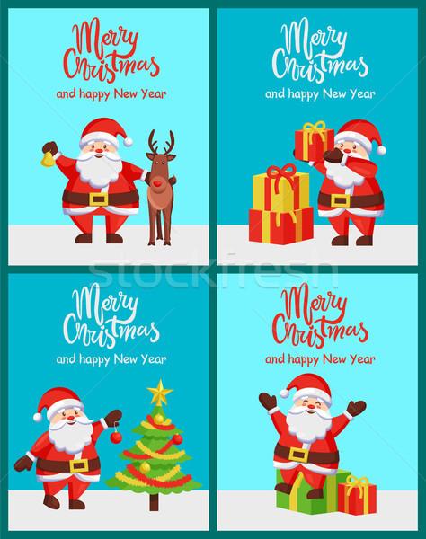 Alegre natal feliz ano novo parabéns conjunto pôsteres Foto stock © robuart