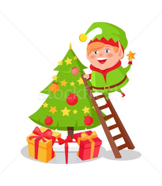 ストックフォト: エルフ · クリスマスツリー · 星 · 先頭