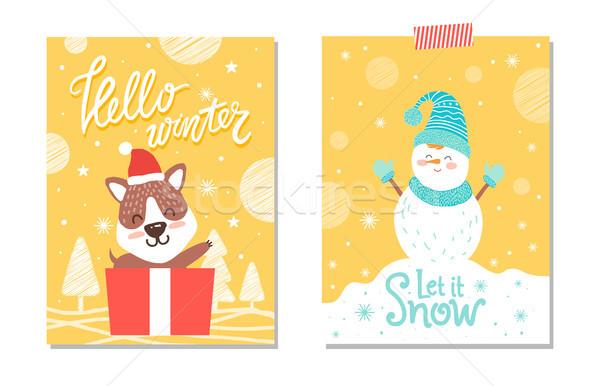 Merhaba kış kar kart köpek Stok fotoğraf © robuart
