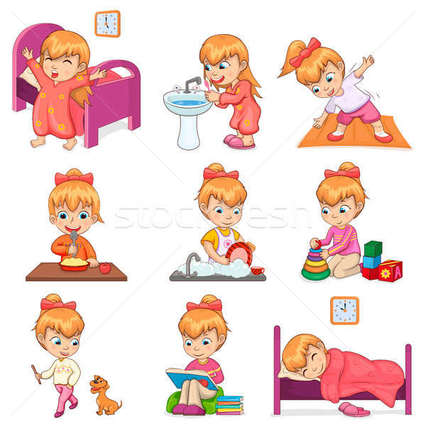Little Girl Does Daily Routine Illustrations Set Stock photo © robuart