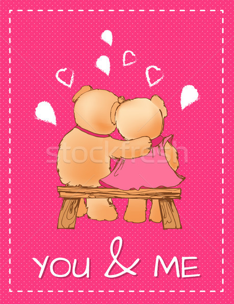You and Me Valentines Day Postcard with Toy Bears Stock photo © robuart