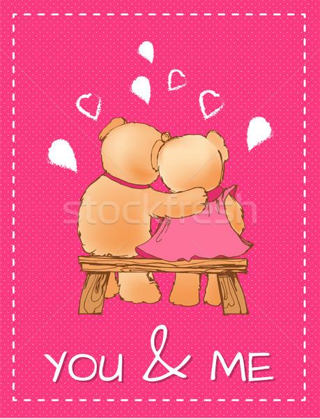 Me dia dos namorados cartão postal brinquedo casal Foto stock © robuart