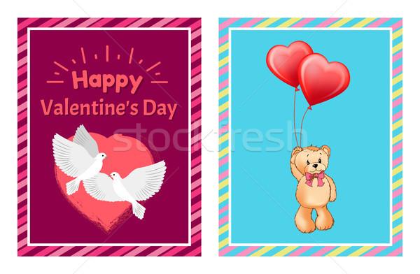 Valentin nap képeslapok galambfélék játék medve fehér Stock fotó © robuart