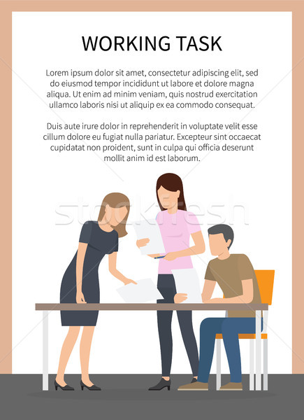 Stock photo: Working Task Poster and Team Vector Illustration