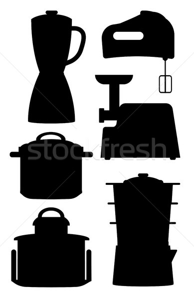 Set of Black Silhouettes of Kitchen Instruments Stock photo © robuart