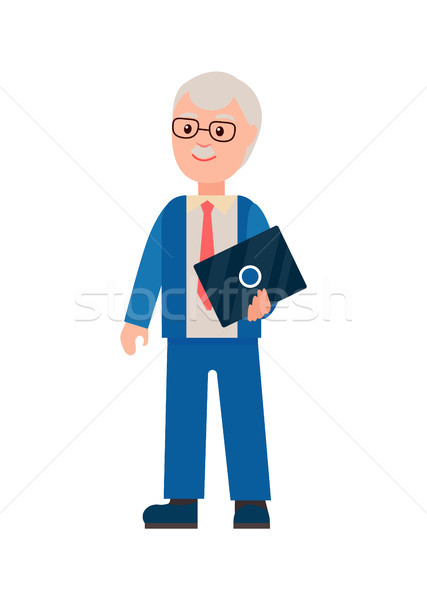 Elderly Man with Laptop Poster Vector Illustration Stock photo © robuart