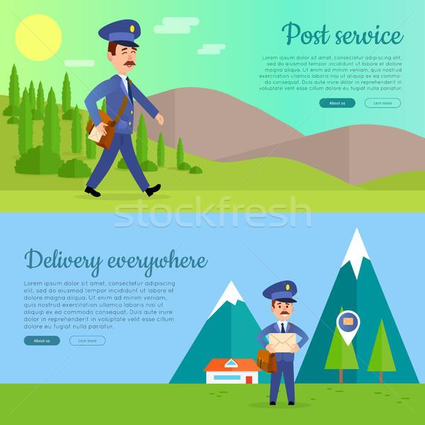 Postar serviço vetor desenho animado teia banners Foto stock © robuart