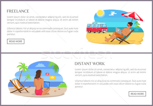 Freelance and Distant Work Set Vector Illustration Stock photo © robuart