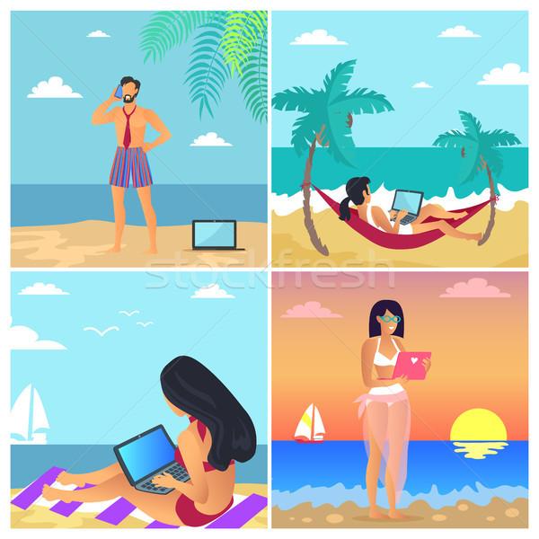 Foto stock: Negócio · verão · pôsteres · conjunto · empresário · falante