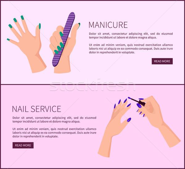 Maniküre Nagel Service promo Internet Plakate Stock foto © robuart